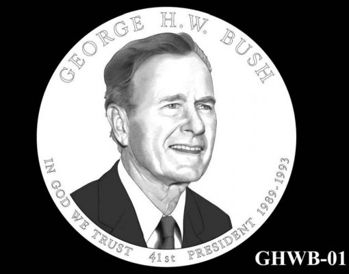 2020 George H.W. Bush Presidential $1 Coin Design Candidate GHWB-01
