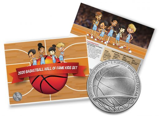 Mint image of Basketball Hall of Fame 2020 Enhanced Uncirculated Clad Half Dollar Kids Set