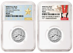 NGC Labels for Circulating 2020-W Quarters with WWII Privy Mark