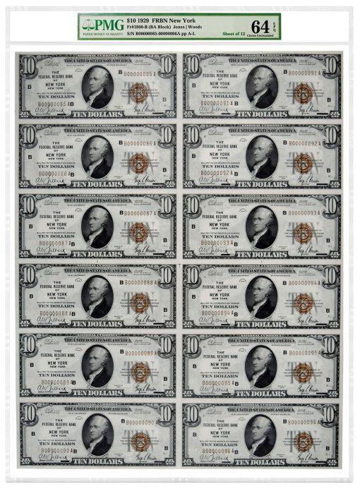 Uncut sheet of 12 1929 $10 Federal Reserve Bank Notes (New York) attributed as Fr#1860-B. Graded PMG 64 Choice Uncirculated EPQ.