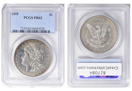 1895 Morgan Silver Dollar, graded PCGS Proof-63