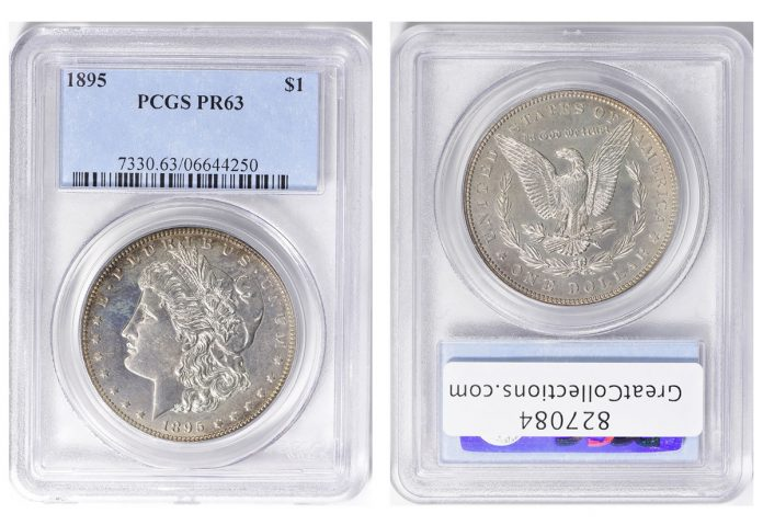 1895 Morgan Silver Dollar, graded PCGS Proof-63
