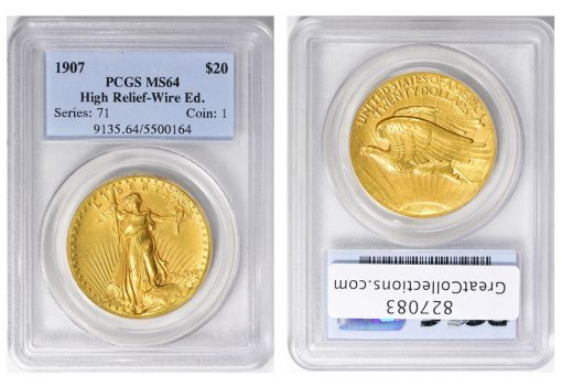 1907 Saint-Gaudens High Relief Gold Double Eagle, graded PCGS MS-64