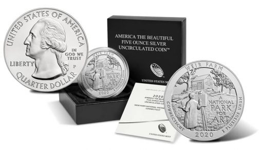 2020-P Weir Farm National Historic Site Five Ounce Silver Uncirculated Coin, Sides and Packaging