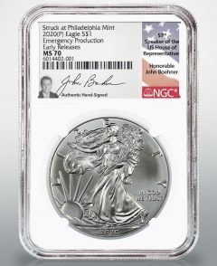 Boehner Signs Inserts for NGC-Certified 2020 Emergency Silver Eagles