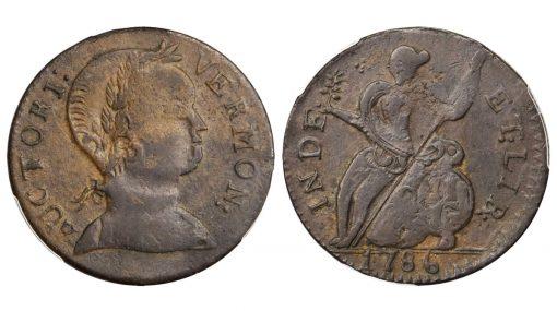1786 Vermont Copper. RR-9, Bressett 7-F, W-2040. Rarity-3. Baby Head. AU-53 (PCGS)