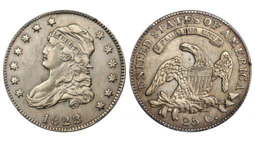 1823/2 Capped Bust Quarter. B-1. Rarity-6-. EF-45 (PCGS)