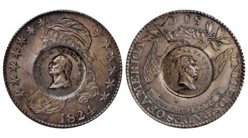1824 Washington and Lafayette countermarks on an 1824/4 O-110 Capped Bust half dollar