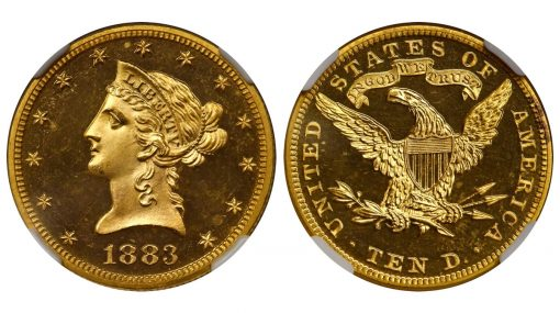 1883 Liberty Head Eagle. JD-1, the only known dies. Rarity-6+. Proof-64 Ultra Cameo (NGC). CAC