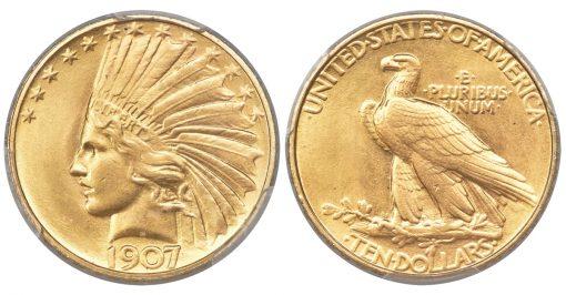 1907 $10 Rolled Rim MS65 PCGS