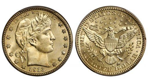 1913-S Barber Quarter. MS-66+ (PCGS). CAC