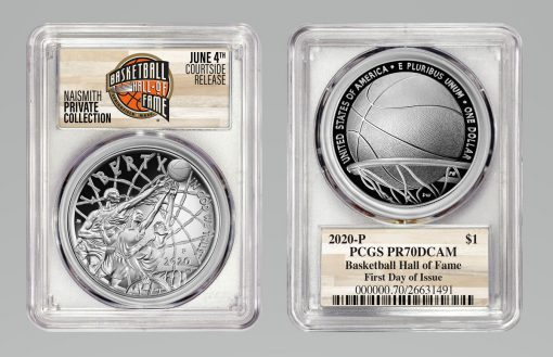 2020-P Basketball Hall of Fame Silver Dollar, PCGS PR70DCAM
