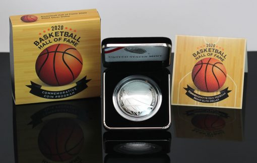 2020-P Proof Basketball Hall of Fame Silver Dollar and Packaging