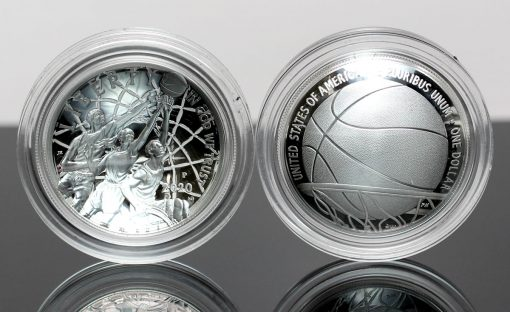 2020-P Proof Basketball Hall of Fame Silver Dollars - Obverse and Reverse