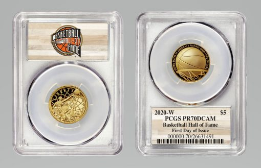 2020-W $5 Basketball Hall of Fame Gold Coin, PCGS PR70DCAM