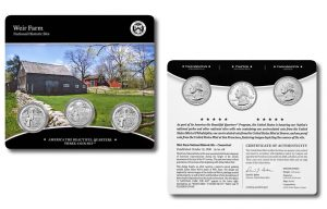 Weir Farm Quarter for Connecticut in Three-Coin Set
