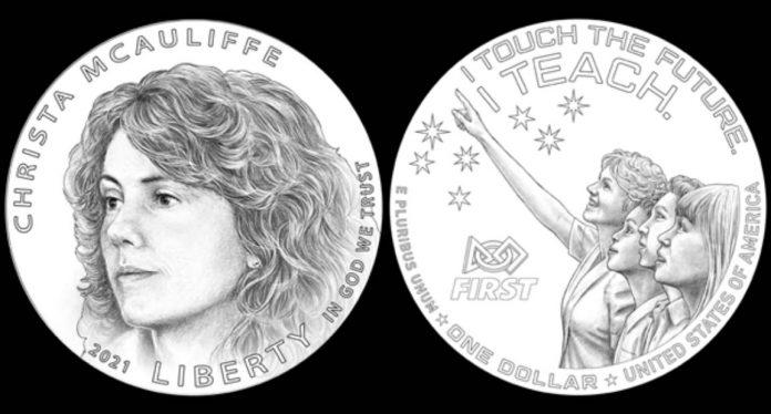 Christa McAuliffe Commemorative Silver Dollar Candidate Designs Examples