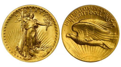 MCMVII (1907) Saint-Gaudens Double Eagle. High Relief. Wire Rim. MS-66+ (PCGS)