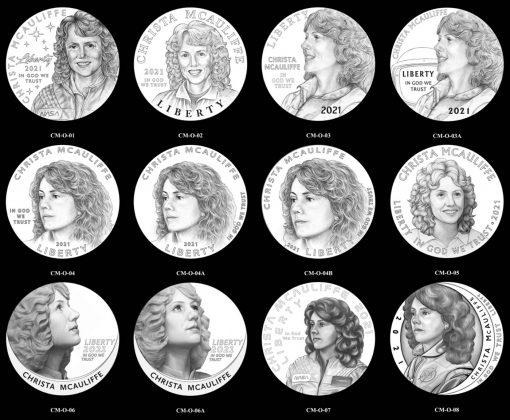 Obverse 2021 Christa McAuliffe Commemorative Silver Dollar Candidate Designs