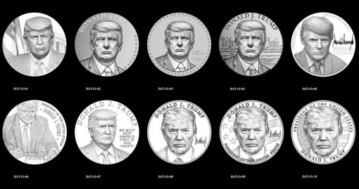Obverse Candidate Designs for the Donald J. Trump Presidential Medal