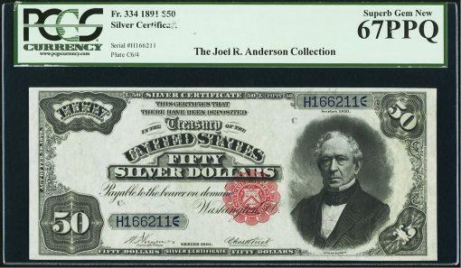 Series 1891 $50 Silver Certificate, Fr. 334