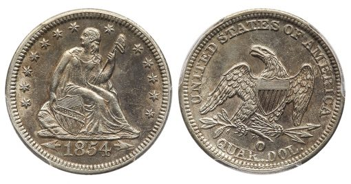 1854-O Liberty Seated Arrows at Date silver quarter-dollar Huge Mint Mark variety