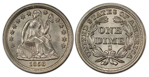 1856-S Liberty Seated dime