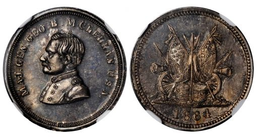 1864 McClellan Portrait / Drums, Rifles, Cannons and Flags. Fuld-142/349 f, DeWitt-GMcC 1864-40