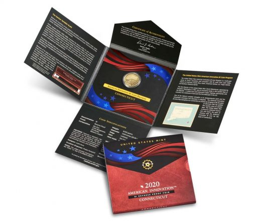 2020-S Reverse Proof Connecticut American Innovation Dollar and Packaging