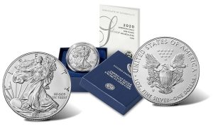 2020-W Uncirculated American Silver Eagle – obverse, presentation case and reverse