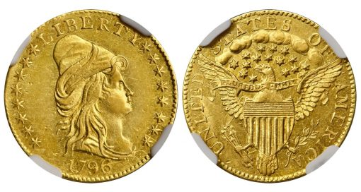 Lot 1248 - 1796 Capped Bust Right Quarter Eagle