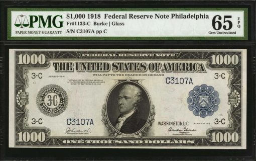 Lot 188: Fr. 1133-C. 1918 $1000 Federal Reserve Note