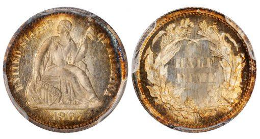 Lot 2574: 1867 Liberty Seated Half Dime
