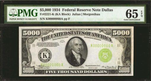 Lot 286: Fr. 2221-K. 1934 $5000 Federal Reserve Note