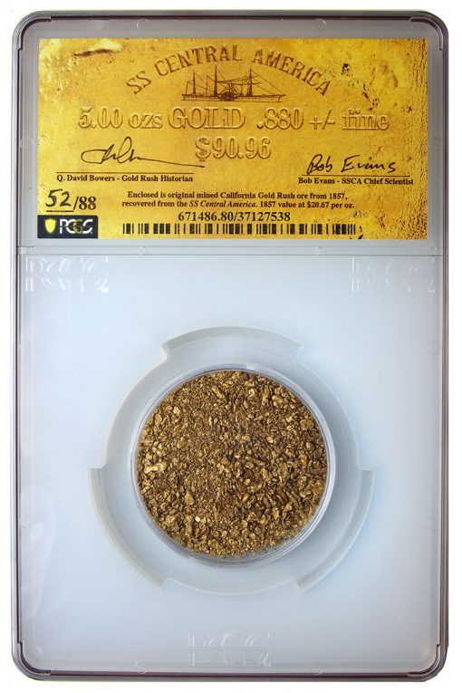 S.S. Central America sunken treasure - 5 oz Cal Gold Rush gold dust