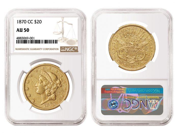 1870-CC Liberty Head Double Eagle graded NGC AU 50