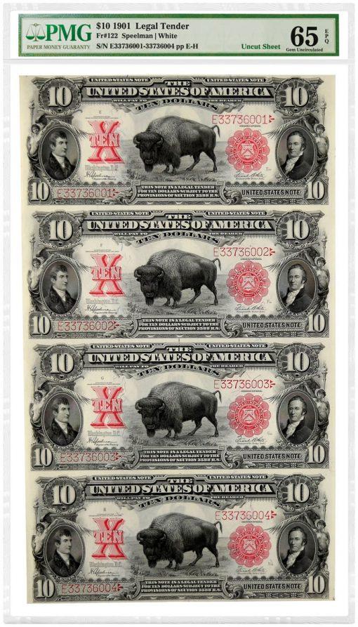 "1901 $10 ""Bison"" Legal Tender Notes graded PMG 65 Gem Uncirculated EPQ"