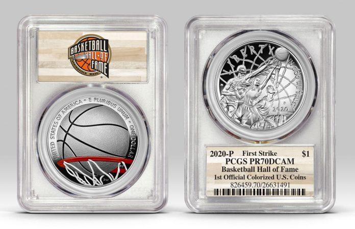 Example of Basketball HOF $1 in PCGS holder