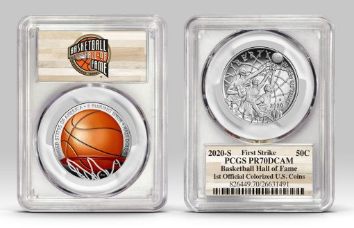 Example of Basketball HOF half-dollar in PCGS holder