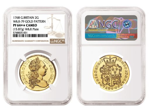 Great Britain 1768 Pattern Gold 2 Guinea graded NGC PF 64+★