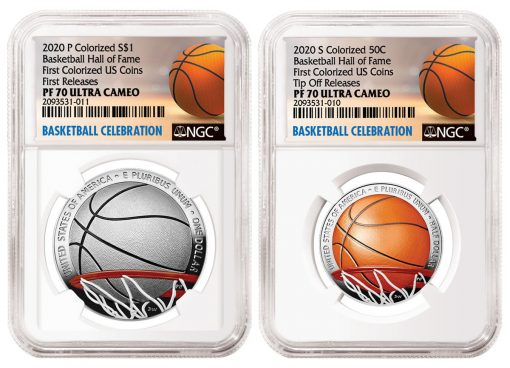 Illustrations of NGC Special Labels for Colorized Basketball Hall of Fame Commemorative Coins