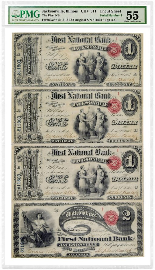 Original Series National Bank Notes ($1, $1, $1 and $2) graded PMG 55 About Uncirculated