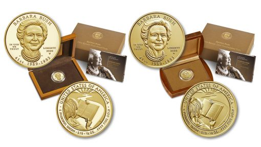 Proof and uncirculated 2020 Nancy Reagan First Spouse Gold Coins and their presentation cases