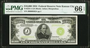 1934 $10,000 Note Realizes World Record in Heritage Sale