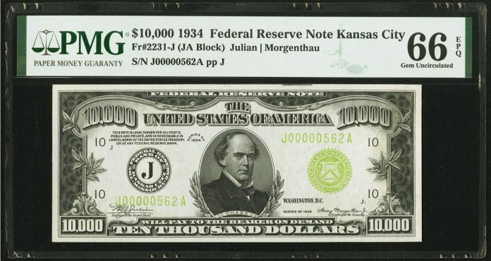 $10,000 1934 Federal Reserve Note. PMG Gem Uncirculated 66 EPQ
