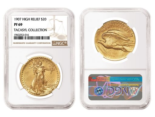 1907 High Relief Double Eagle, graded NGC PF 69