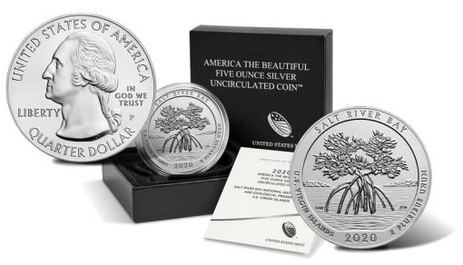 2020-P Salt River Bay Five Ounce Silver Uncirculated Coin and Packaging