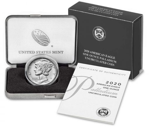 2020-W $25 Uncirculated American Palladium Eagle, Coin, Case and Certification