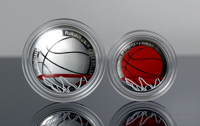 Photo of 2020 Colorized Basketball Commemorative Coins