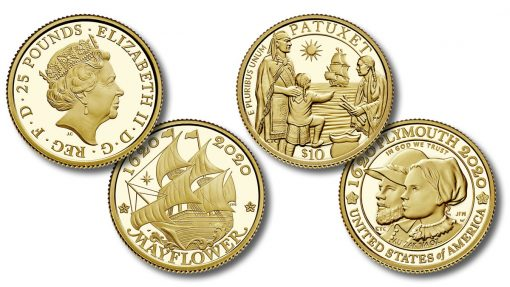US and UK 400th Anniversary of the Mayflower Voyage Gold Coins